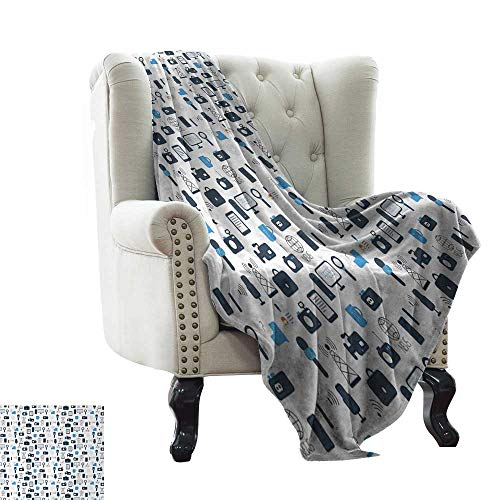 LsWOW Queen Size Blanket Blue and White,Journalism Mass