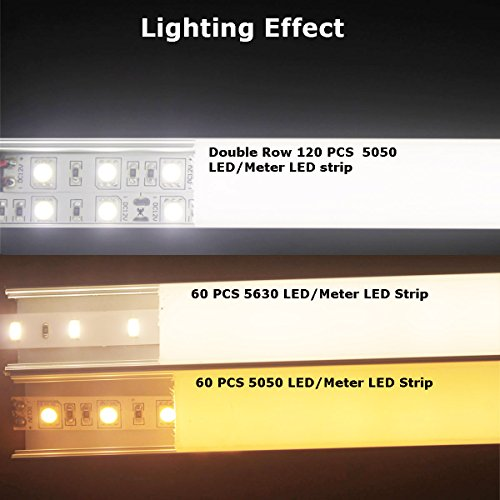 Litever 6 Pack Aluminum LED Channel - for LED Strip Mounting-3.3ft/1 Meter Aluminum Channels, 23mm Wide 21mm Deep, End Caps, Brackets, Spotless Lighting Effect with Frosted Cover-6-PACK-[LL-WH-2420] by Litever (Image #6)