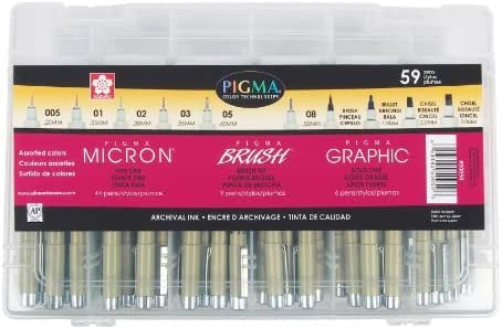 Sakura Pigma Micron Fineline Pen Artist Set 59CT, Ass't Colors