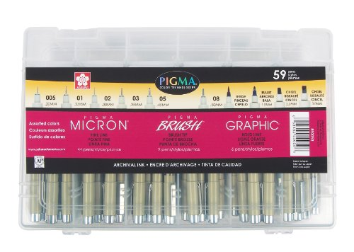 Sakura 50050 59 Piece Pigma Ink Artists Gift Set