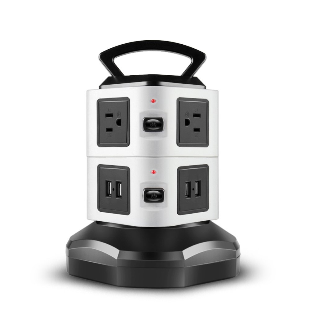 TNP Power Strip with USB Surge Protector - 6 AC Outlet + 4 USB Port Charger Charging Station Power Supply Adapter Multi Socket Plug Powerstrips Bar Stand Tower, Individual Switch, 6FT Extension Cord