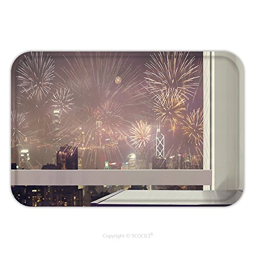 Flannel Microfiber Non-slip Rubber Backing Soft Absorbent Doormat Mat Rug Carpet Black Wooden Table At Glass Window Of City Night View With Firework For Celebration For Holiday 541197253 for Indoor/Ou by vanfan