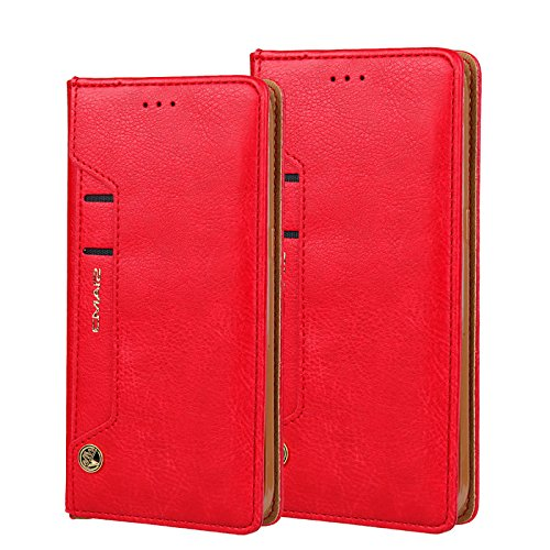 Galaxy S8 Wallet Case,MIYA LTD Folio Flip Kickstand Case with ID Credit Card Slots Shockproof Leather Case for Women Men for Samsung Galaxy s8 - Red
