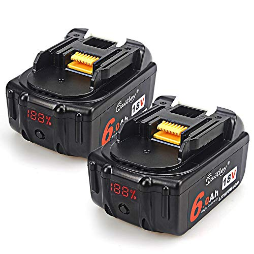 TenMore 18V 6.0ah BL1860 Replacement Battery with LED Indicator Compatible with Makita 18V BL1830B BL1860B BL1840B BL1815 LXT-400,2-Pack