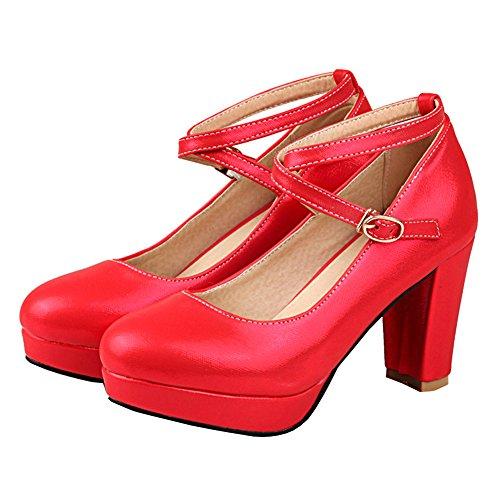 YE Damen Knöchelriemchen Chunky High Heels Plateau Geschlossen Pumps mit Blockabsatz und Schnallen Runde Spitze 7cm Heels Elegant Party Kleid Schuhe Rot