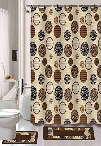 15PC ALANA BROWN ZEBRA CIRCLES BATHROOM BATH MATS SET RUG CARPET SHOWER - Zebra Circle