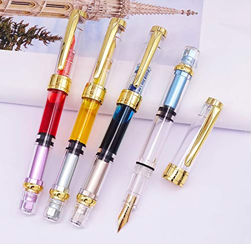 Wing Sung 3008A Gold Plated Fine Nib, Transparent Gold Trim 4 Colors Set 【2018 Upgraded Set 】 ()