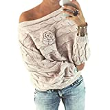 Kulywon Womens Multicolor Striple Flower Sweater Casual Knitted Long Sleeve Pullover