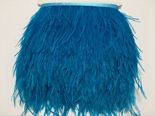 - MELADY Fashion Dress Sewing Crafts Costumes Decoration Ostrich Feathers Trims Fringe with Satin Ribbon Tape (2 Yards, Sky Blue)