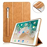 iPad Case 9.7 with Pencil Stylus Holder,elecfan Elegant PU Leather Trifold Stand Protective Shell Hard Back Cover for Apple New iPad 9.7'' 5th/6th Generation 2018/2017 Model - Light Brown