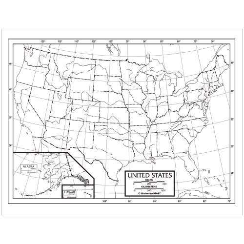 US Outline Pad Map - Outline Maps Blank
