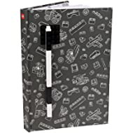 LEGO Stationary Journal with Brick Plate and Gel Pen - Gray Cover with Black Brick and Pen - 96...