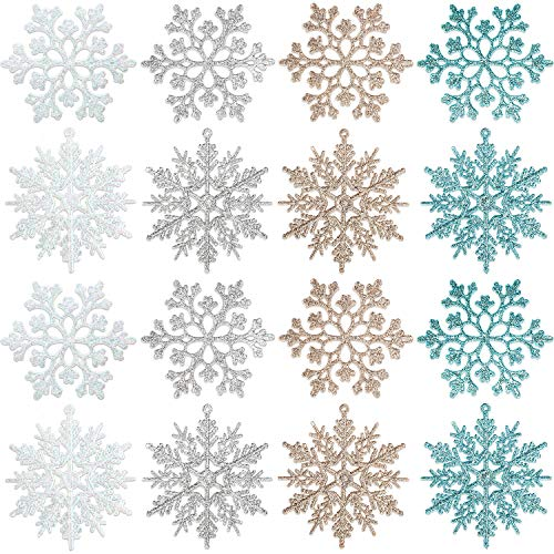 BBTO 48 Pieces Plastic Snowflake Ornaments Christmas Glitter Snowflakes Hanging Crafts for Christmas Tree Wedding Embellishing Party Decorations (Multicolor)