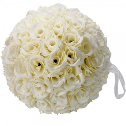 Generic New 9.84 inch Wedding Decor Romantic Super Flower Kissing Ball Ivory