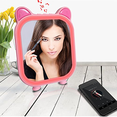 Mirror Makeup With Bluetooth Audio Speakerphone Touch Screen Switch Scene Lights Travel Light Up Tabletop HMYH,Pink -