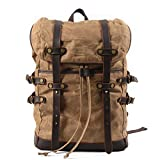 YANGYANJING Vintage Canvas Leather Laptop Backpack for Men School Bag 15.6″ Waterproof Travel Rucksack Review