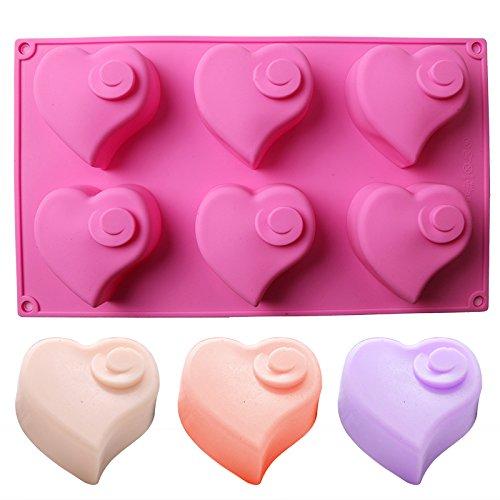 Delidge 6-Cavity Heart Shape Silicone Cake Mold Chocolate Mold Muffin Baking Lotion Bars Soap Moulds,Oblique love-Love Swirl-Love Cake Insert,decoration(color random) (6 Cavity Love Swirl)