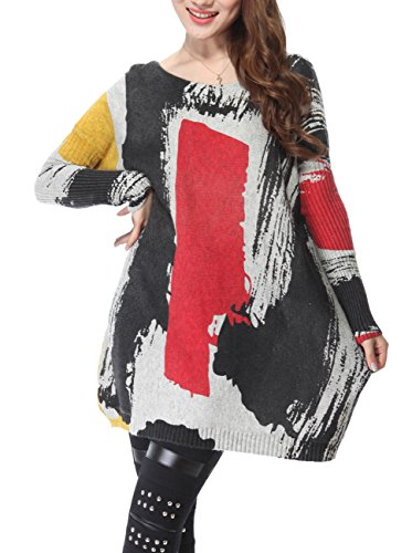 Mujer ELLAZHU Baggy garabatos Imprimir Knit Pullover vestido talla única sz45 gris