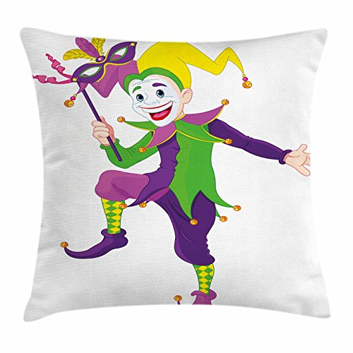 Jester Costume Party City (Mardi Gras Throw Pillow Cushion Cover by Ambesonne, Cartoon Style Jester in Iconic Costume with Mask Happy Dancing Party Figure, Decorative Square Accent Pillow Case, 20 X 20 Inches, Multicolor)