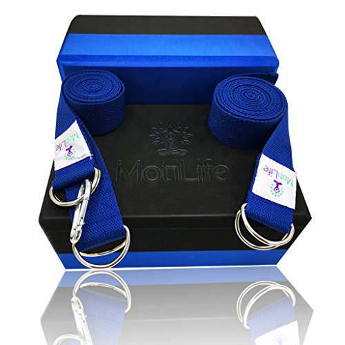Yoga Blocks 2 pack with Yoga Strap and Yoga Mat Carrier Strap Set - Improve Strength, Flexibility and Deepen Poses | Most Durable Non Toxic Foam Bricks | Lightweight, Odor-Resistant