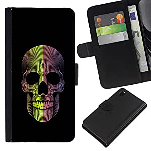 KingStore / Leather Etui en cuir / Sony Xperia Z3 D6603 / Cráneo de la muerte Metal Rock Negro;