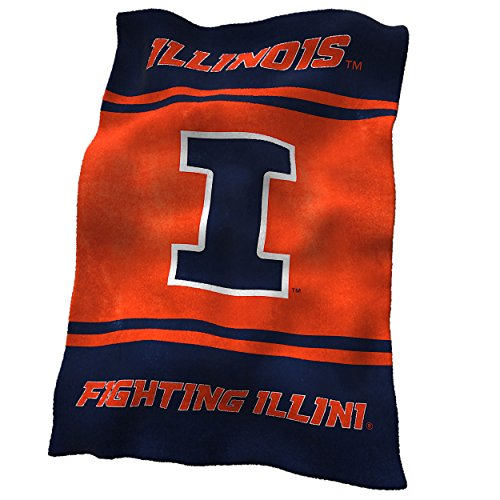 Logo Brands NCAA Illinois Fighting Illini Ultrasoft Blanket (Fighting Illini Blanket)