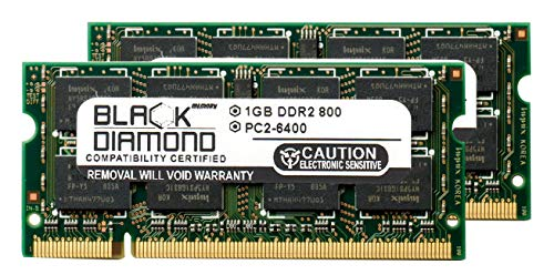 2GB 2X1GB Memory RAM for Compaq Presario Laptop Notebook CQ40-107AX DDR2 SO-DIMM 200pin PC2-6400 800MHz Black Diamond Memory Module Upgrade