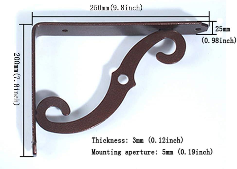 soporte de estante triangular montado en la pared de hierro Soporte de estante retro de 2 piezas soporte de estante decorativo en /ángulo recto en forma de L con tornillo