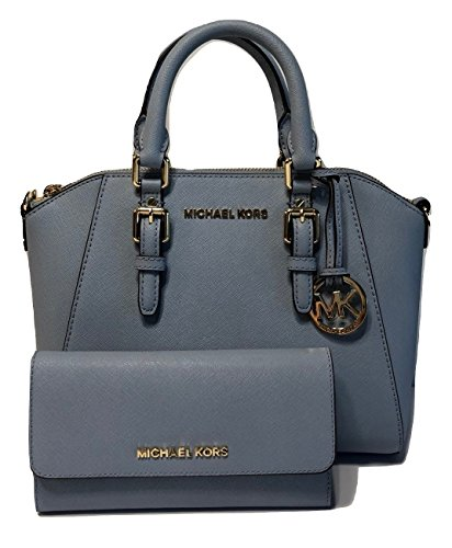MICHAEL Michael Kors Ciara MD Crossbody bundled with Michael Kors Jet Set Travel Large Trifold Wallet (Pale Blue) by Michael Kors