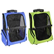 SaveOnMany ® 4-in-1 Pet Carrier Backpack Crate Luggage on Rolling Wheels for Dogs and Cats Travel Tote Airline Approved (2 Colors Available: Blue / Lime Green)