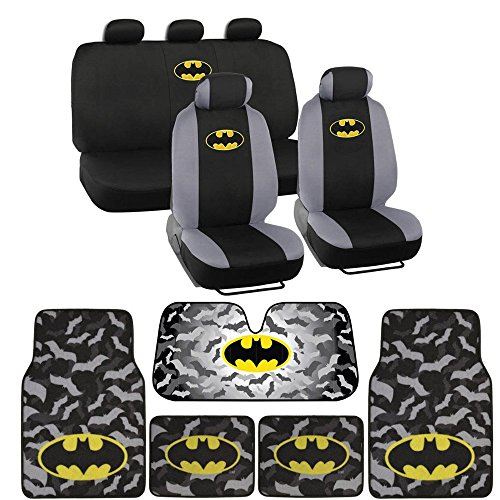 Warner Bros 14 Pc Full Interior Protection Auto Accessories – DC Batman Super Hero Seat Cover, Floor Mat and Sun Shade