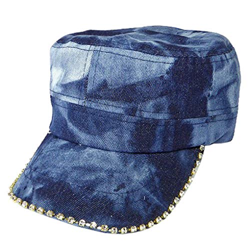 (SILVERFEVER Women's Military Cadet Army Cap Hat with Bling -Rhinestone Crystals on Brim (Denim Dark Stone Splesh))