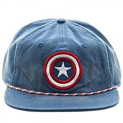 fb500fb5e14 Image Unavailable. Image not available for. Color  BIOWORLD Marvel Captain  America Logo Washed Unstructured 6 Panel Snapback Cap Hat