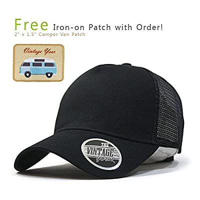 Vintage Year Plain Cotton Twill Mesh Snapback Trucker Baseball Cap + Free Sew/Iron on Camper Patch (Black B)