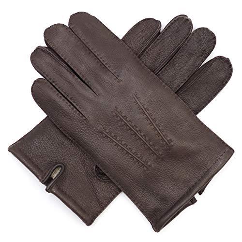 Harssidanzar Mens Deerskin Leather Gloves Cashmere Lined Vintage Finished, Dark Brown, XL