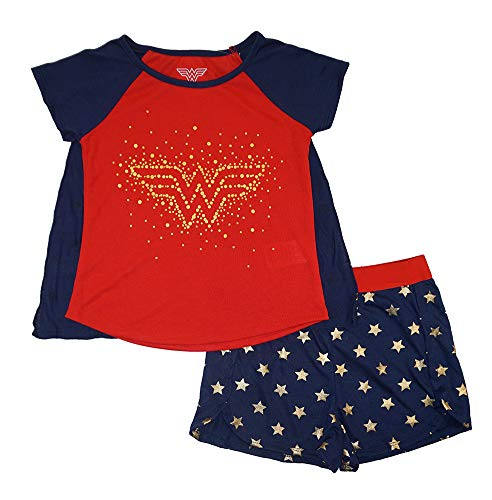 Wonder Woman Girls' Big 2 Piece Short Pajama Set with Matching Cape, Blue Print -