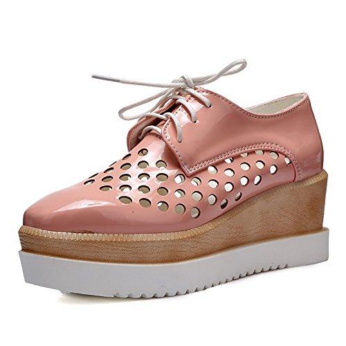 AllhqFashion Mujeres PU Material Suave Puntera Cuadrada Tacón Medio Zapatos de Tacón Rosa