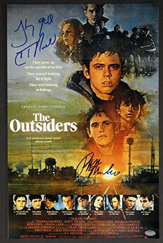 The Outsiders Cast Signed Mini Movie Poster autographed by 2 - Psa/dna