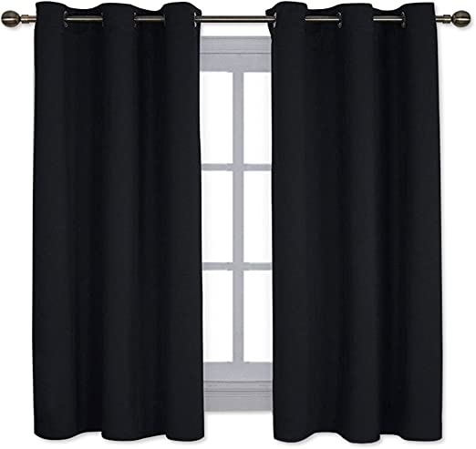 Deconovo Room Darkening Window Drapes Thermal Insulated Grommet Blackout Curtains for Bedroom 42 Inch by 45 Inch Dark Grey 2 Curtain Panels