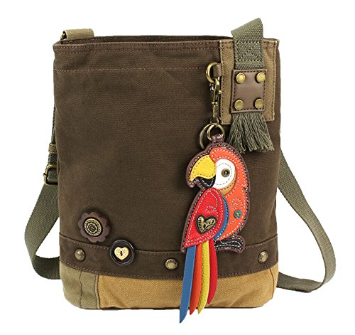 Messenger Chala Handbag Cross Patch Brown Dark Red Canvas Parrot Women Body Bag xx48qwCp6