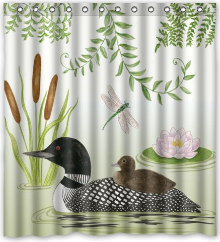 Loon Lake Beautiful Design Waterproof Fabric Polyester Bathroom Shower Curtain 66quotw X