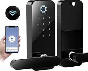 Smart Door Lock,Tuya Electronic Digital Bluetooth Smart Deadbolt,Keyless Entry Door Lock with Keypads,Gateway Hub Included, Work with Alexa and Google Home,APP,Code for Home Apartment