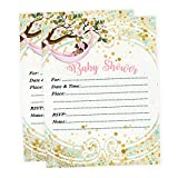 Baby Shower Invitations Girl Theme Pink and Gold Fill in Style Qty of 20 with Envelopes