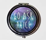 Go Ask Alice Compact Mirror Psychedelic Trippy LSD Acid Alice in Wonderland White Rabbit Pocket Size for Makeup Cosmetics