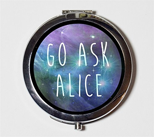 Go Ask Alice Compact Mirror Psychedelic Trippy LSD Acid Alice in Wonderland White Rabbit Pocket Size for Makeup Cosmetics by Fringe Pop
