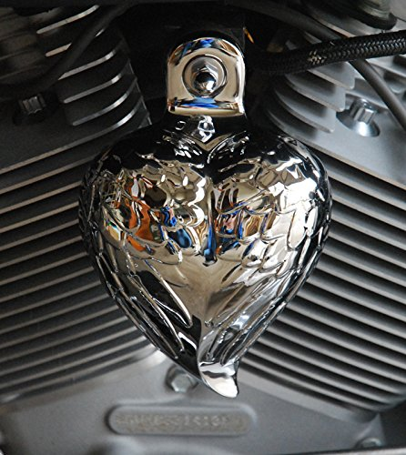 Harley Show Chrome Angel Wing Heart Horn Cover Chrome Dome