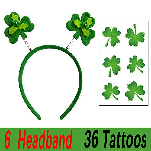 St Patricks Day Green Shamrock Head Boppers Hats, Shamrock Headband, St Patricks Day Party Supplies Party Favors]()