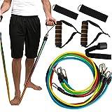 Denshine 11Pcs/Set Resistance Bands Workout Exercise Training Tube Pull Rope Rubber Expander Elastic Bands for Fitness