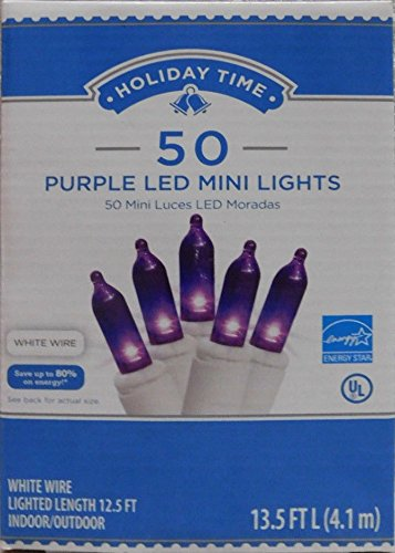 (Holiday Time 50 Count Purple LED Mini Lights on White Wire)