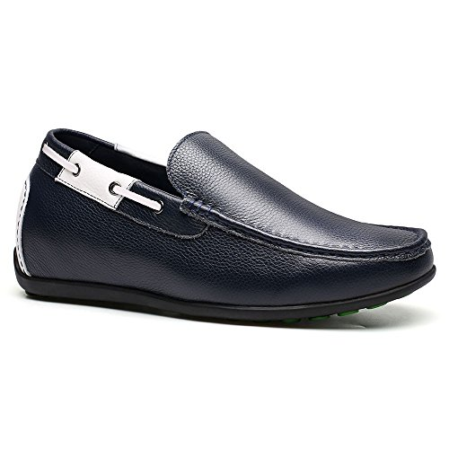 Casual 6 inches Mens On Loafer Shoes Leather cm Black Business 2 CHAMARIPA Slip Shoes Platform Blue Heeled 36 Elevator CRqF0wxxO
